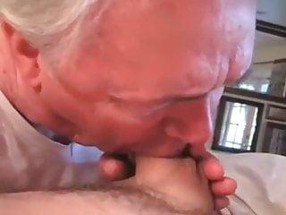 Grandpa sucking his 81st birthday cock gift...