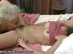 Mature pumped hairy lesbian seduced pretty brunette