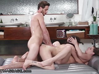 Hot babes fuck with the janitor after they...