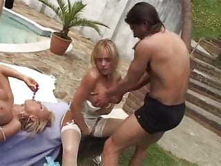 Mature British twins fuck hard in 4 way DP