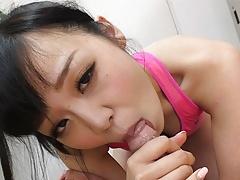 Japanese brunette, Yui Nozomi sucks cock, uncensored