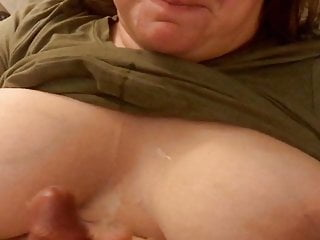 Big cumshot onto wife's amazing boobs