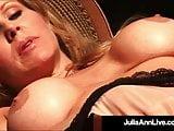 Hot Busty Milf Julia Ann Finger Bangs Pussy In Hot Fishnets!