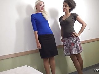 Client fuck two skinny latina and blonde street...