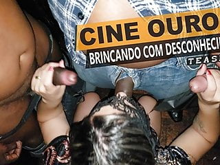 Gangbang Cuckold movie: Cristina Almeida with a lot of strangers at the sex theater
