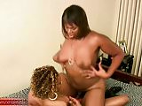 TS girlfriends fuck each other with a strapon cowgirl style