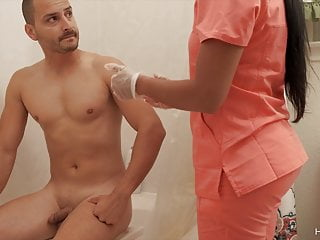Slutty nurse bathes and bangs her affected person