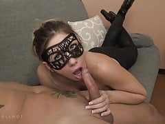 Blowjob in big black leggings with cumshot on my face