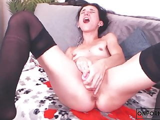 Girl jerking off a big dildo until she cum