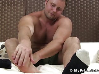 Dude teases while his soft feet...