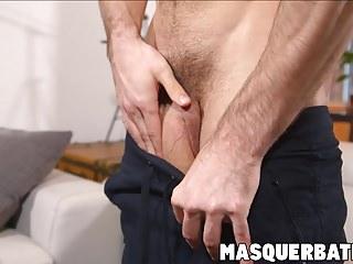 Handsome muscular stud jerking off...