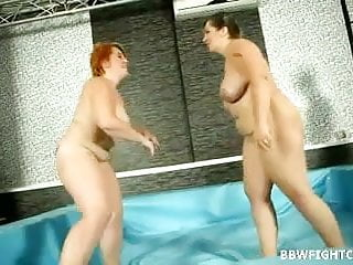 Nude wrestling match with 2 fat and big...