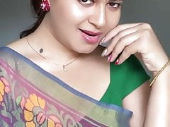 sexy Indian Aunty Sexy Green Saree