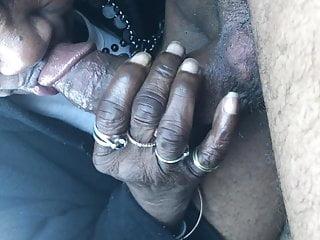 Granny head in car-