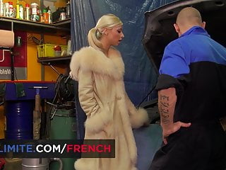 Chloe Lacourt blond French slut ass fucked by mechanic man