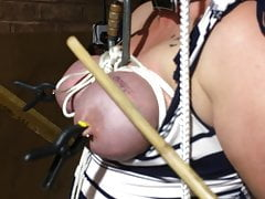 More tit torture 1, tied and caned