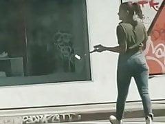 Model In Dtla Bootie. Cock-squeezing Jeans