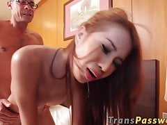 Ginger T-girl With Good-sized Bumpers Rails Good-sized Giant Dick