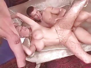 British slut Michelle B in a FMM threesome in fishnets