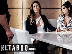 Nervous Employee Helps Ambitious Babes Squirt