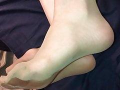 Cum all over her tan pantyhose feet