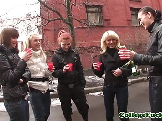 Topless college teens in group dancing...