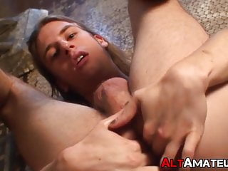Long haired blond gay anal plays with dildo and masturbates
