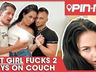 Filthy threesome fuck for naughty bimbo Alice! Pin-Me.com