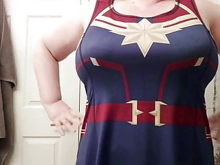 Caressing my curves in my new Captain Marvel dress!