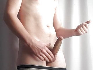 Long haired guy cums through his underwear
