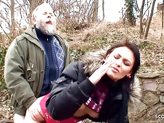 Ugly Grandpa Has Outdoor Sex with Cute Schoolgirl for Cash