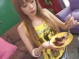 Japanese girl eating jelly with cum