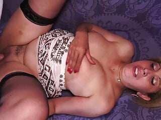 Mature stepmom takes two cocks in ass and pussy
