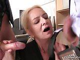 Skinny blonde old grandma swallows two cocks