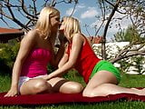 Outdoor play for blonde lesbian babes