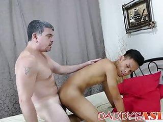 Perverted older guy tickles and barebacks a guy...