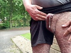 Peeing and wanking cumshot in my leopard print leggings