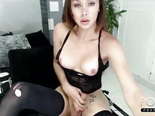 Cute tranny black lingerie...