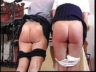 British professor spanks two naughty girl students...