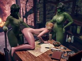 Monsters fuck tranny elf 3 threesome...