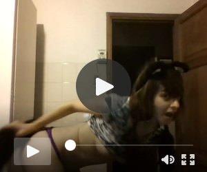 Slutty teen strip on webcam for her boyfriend
