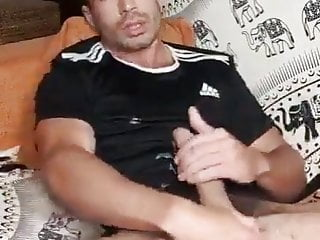 fit hairy guy cums on his adidas top