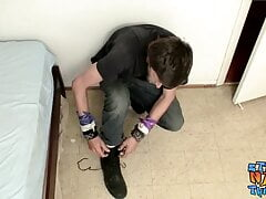 Cute straight thug Apollo Delion rubs his dick solo and cums