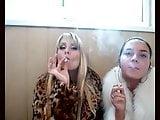 2 Russian Babes In Furs Smoking Not Inhaling