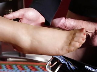 Exhaustive spoil the secretary on the nylon feet