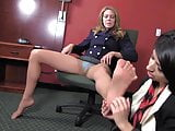 office lesbians foot worship , very erotic
