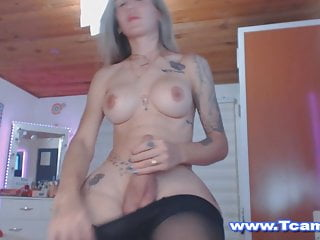 Sexy tattooed shemale babe masturbating wild...