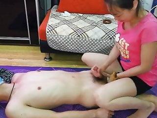 Asian misstress footjob...