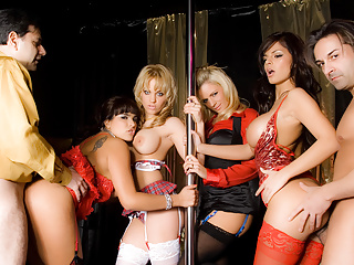 The Swinger Experience Presents Four Horny Strippers Take Turns Pleasuring Two Lucky Cocks