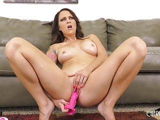Big Tit Brunette Solo Masturbating With Dildo and Hitachi in